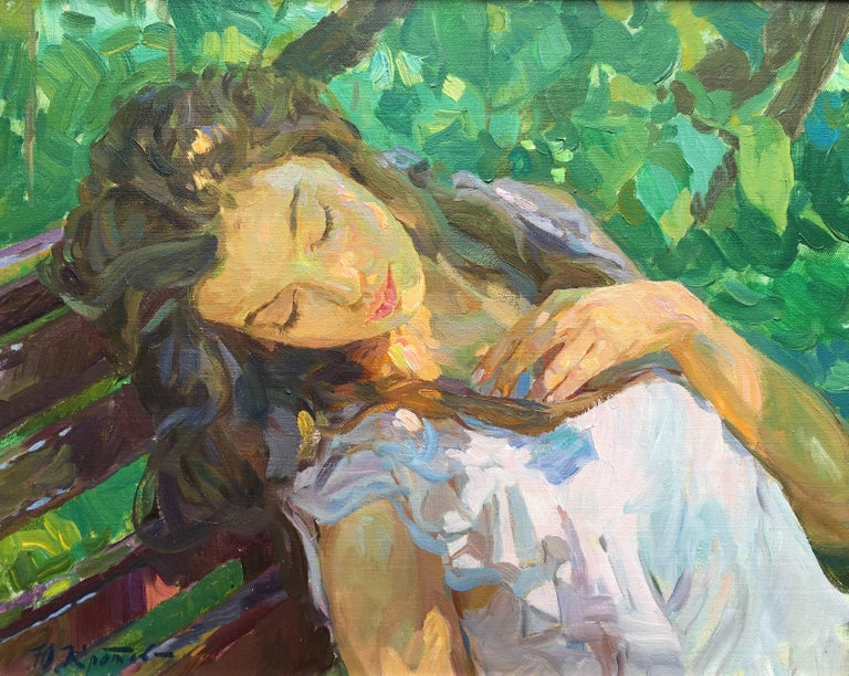 """Yuri Krotov Figurative Painting - """"Sleeping"""" French impressionist style portrait of a young lady"""
