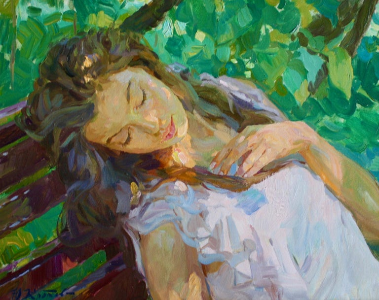 Sleeping ,,Yuri Krotov contemporary Russian artist impressionist  - Impressionist Painting by Yuri Krotov