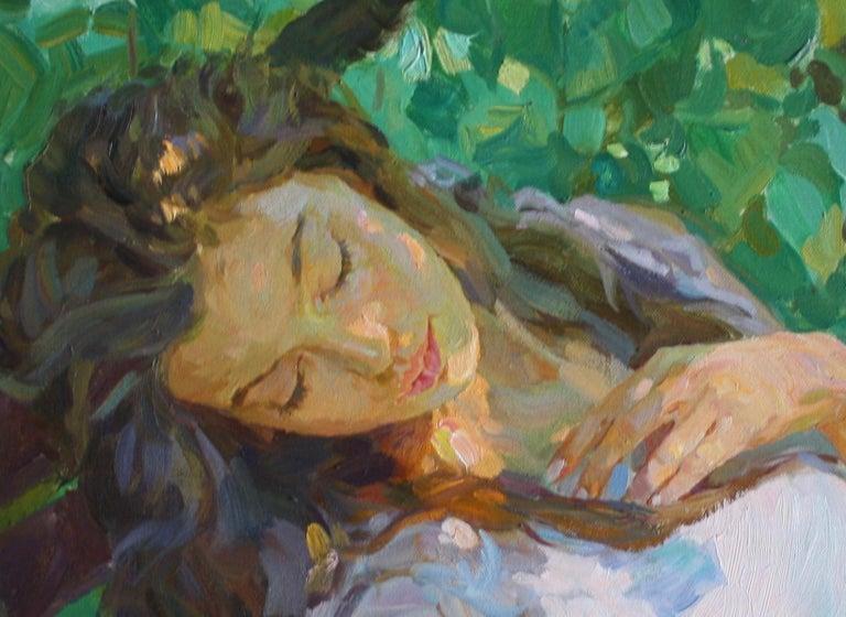 Sleeping ,,Yuri Krotov contemporary Russian artist impressionist  - Brown Figurative Painting by Yuri Krotov