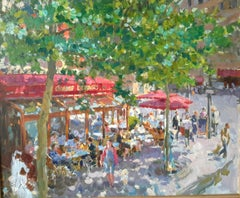 Spring in Paris, cafe, Paris, Contemporary, Impressionist, 21st Century