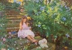 THE ART STUDENT WITH HER FAITHFUL MODEL.Yuri Krotov Contemporary Russian artist