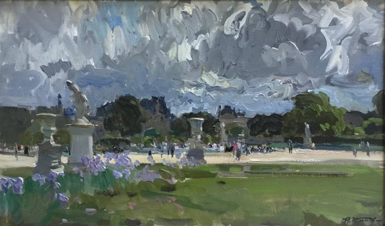THE BOATING POND TUILERIES GARDES PARIS.Yuri Krotov Russian contemporary  - Impressionist Painting by Yuri Krotov