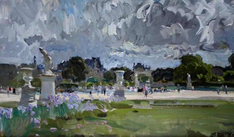 THE BOATING POND TUILERIES GARDES PARIS.Yuri Krotov Russian contemporary  - Gray Landscape Painting by Yuri Krotov