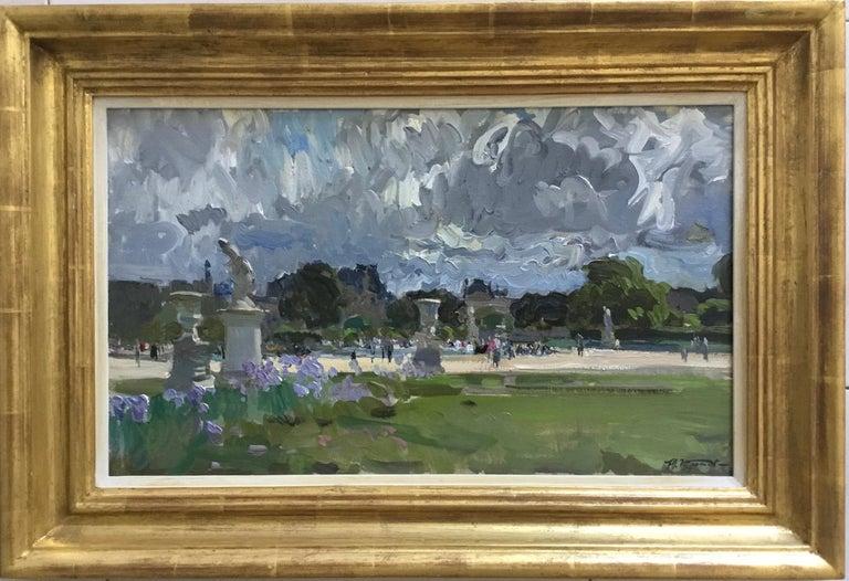 THE BOATING POND TUILERIES GARDES PARIS.Yuri Krotov Russian contemporary  - Painting by Yuri Krotov