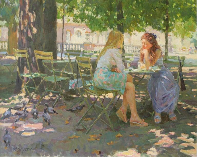 THE CONVERSATION LUXEMBOURG GARDENS PARIS,YURI KROTOV CONTEMPORARY RUSSIAN  ART - Painting by Yuri Krotov
