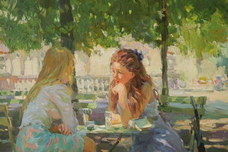 THE CONVERSATION LUXEMBOURG GARDENS PARIS,YURI KROTOV CONTEMPORARY RUSSIAN  ART - Impressionist Painting by Yuri Krotov