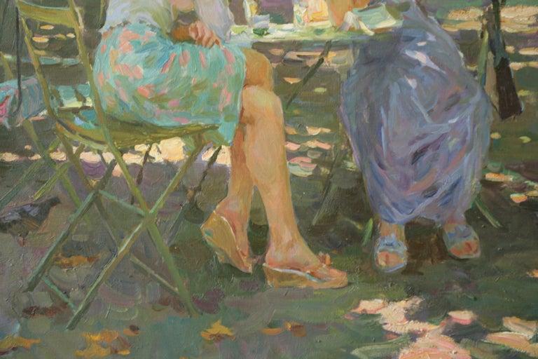 THE CONVERSATION LUXEMBOURG GARDENS PARIS,YURI KROTOV CONTEMPORARY RUSSIAN  ART - Brown Figurative Painting by Yuri Krotov