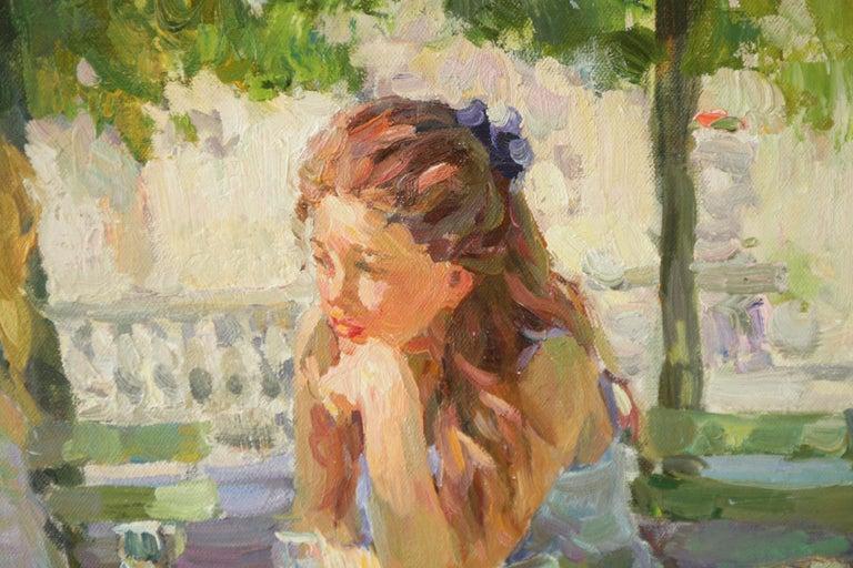 THE CONVERSATION LUXEMBOURG GARDENS PARIS,YURI KROTOV CONTEMPORARY RUSSIAN  ART For Sale 2