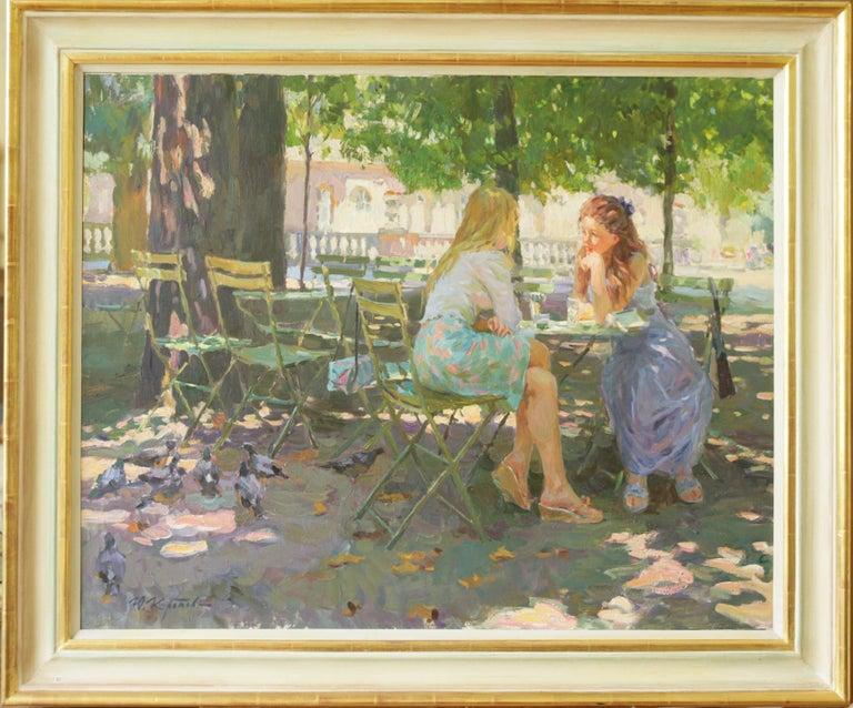Yuri Krotov Figurative Painting - THE CONVERSATION LUXEMBOURG GARDENS PARIS,YURI KROTOV CONTEMPORARY RUSSIAN  ART