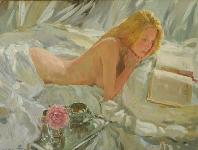 THE ROMANTIC BOOK OF POEMS.Yuri Krotov. contemporary Russian artist - Impressionist Painting by Yuri Krotov