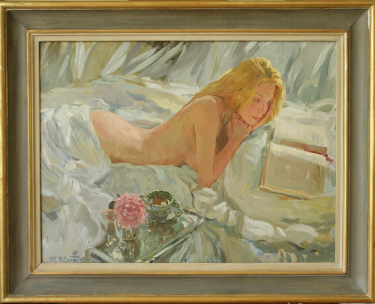 THE ROMANTIC BOOK OF POEMS.Yuri Krotov. contemporary Russian artist - Painting by Yuri Krotov