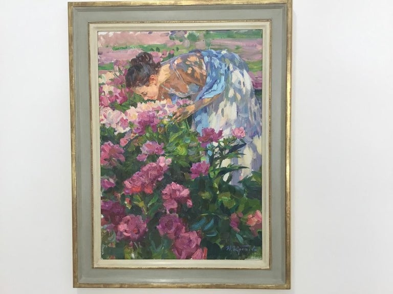 THE SENT OF THE PEONY YURI KROTOV RUSSIAN ARTIST bespoke frame by BONUCCELLI For Sale 3