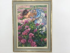 THE SENT OF THE PEONY YURI KROTOV RUSSIAN ARTIST bespoke frame by BONUCCELLI