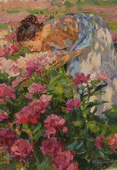 THE SENT OF THE PEONY YURI KROTOV RUSSIAN ARTIST bespoke frame by BONUCCELLI