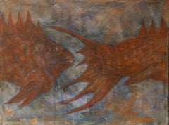 A Fish, Contemporary Abstract Art Animal Painting Canvas Surrealist Brown Yellow