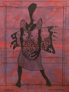 Dana, Contemporary Abstract Art Painting Canvas Tribal Woman Portrait Purple