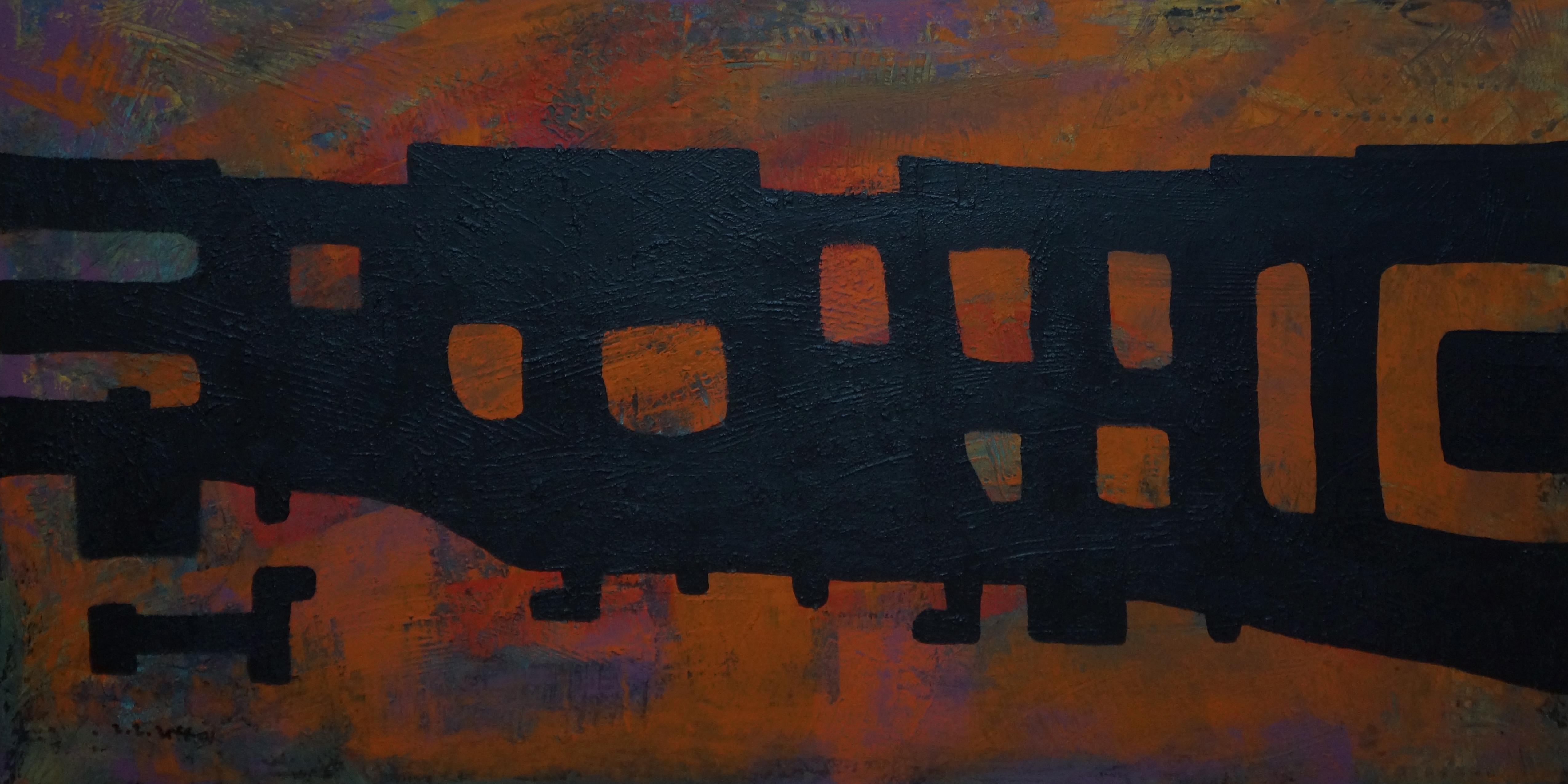 Tribal, Contemporary Expressionist Abstract Painting Canvas Geometric Orange