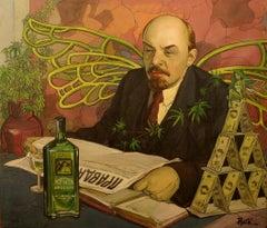 True Leader, Contemporary Social Realist Art Political Portrait Humor Green Red