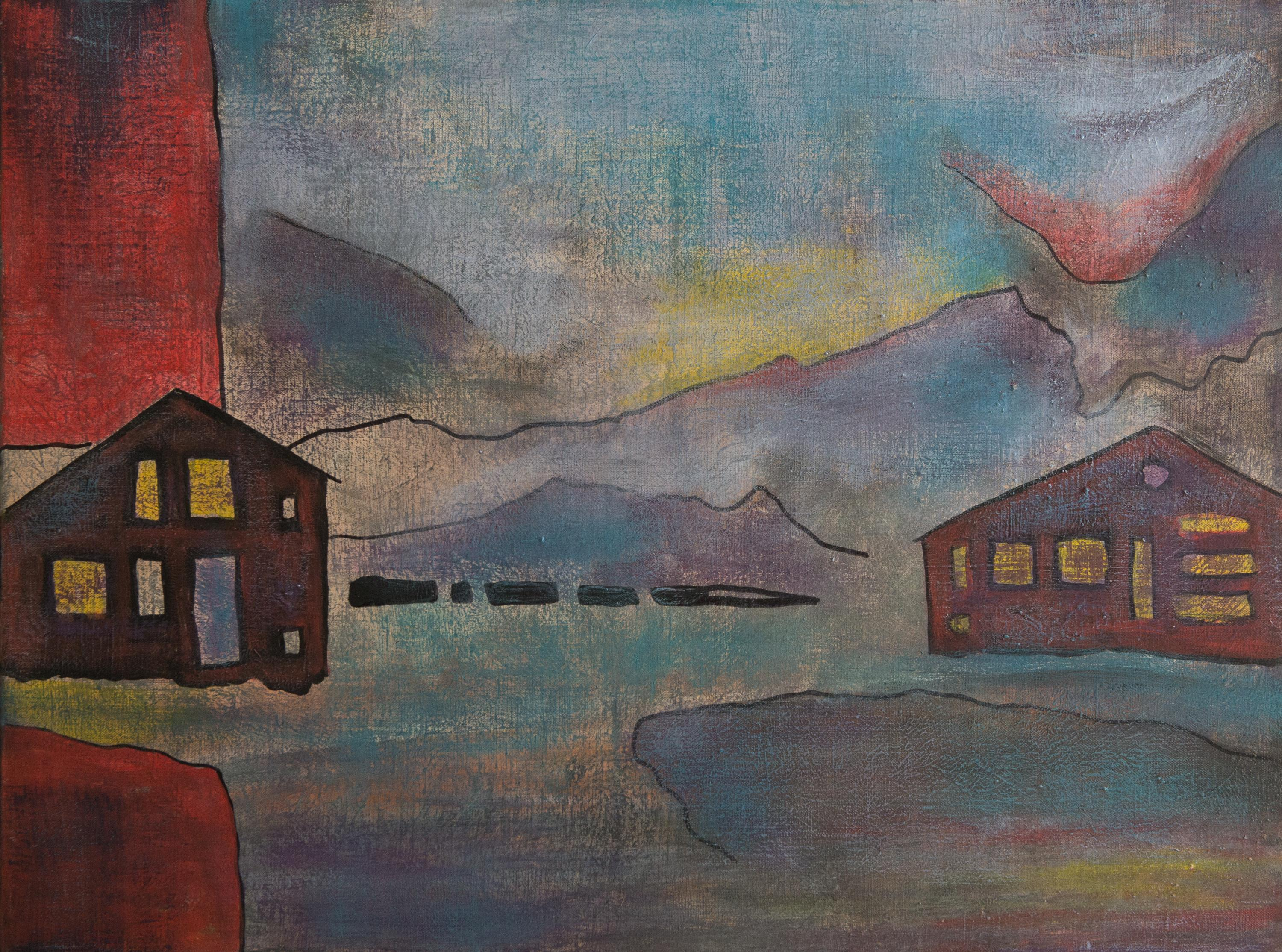 Untitled, Modern Surrealist Art Acrylic Painting Canvas Landscape Blue Red City
