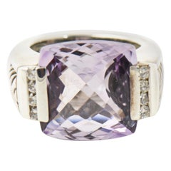 Yurman Amethyst Diamond Sterling Silver Deco Cable Cocktail Ring