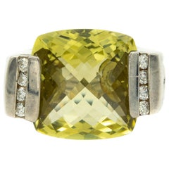 Yurman Green Quartz Diamond Sterling Silver Deco Cable Cocktail Ring