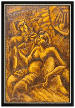 Yuri Yuroz Large 60 x 40 Oil Painting On Board Nude Female Modern Cubism Artwork