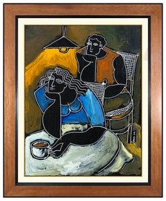 Yuri Yuroz Oil Painting On Board Original Modern Cubism Portrait Signed Artwork