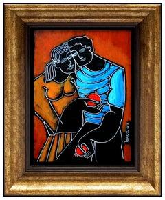 Yuri Yuroz Original Painting Oil Painting On Board Modern Cubism Portrait Art