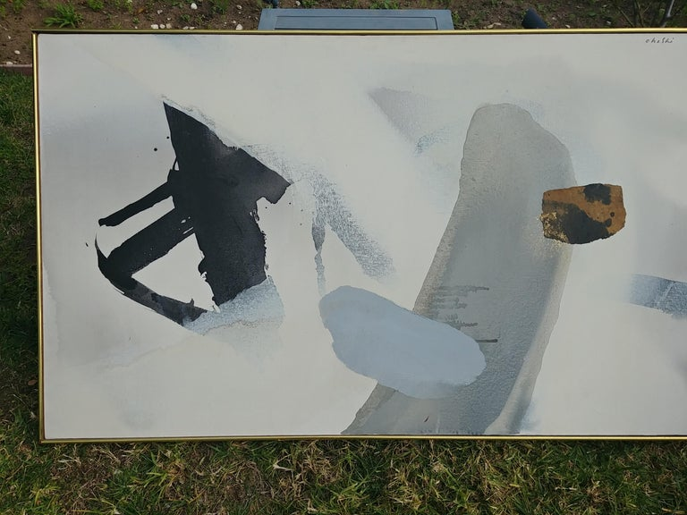 This is a very traditional abstract image for the well known Japanese artist Ohashi (1923-1989). This work measures 30 x 50, just the art by itself. Has a vintage original frame. Signed and dated in back as shown in pictures. Also signed UR in
