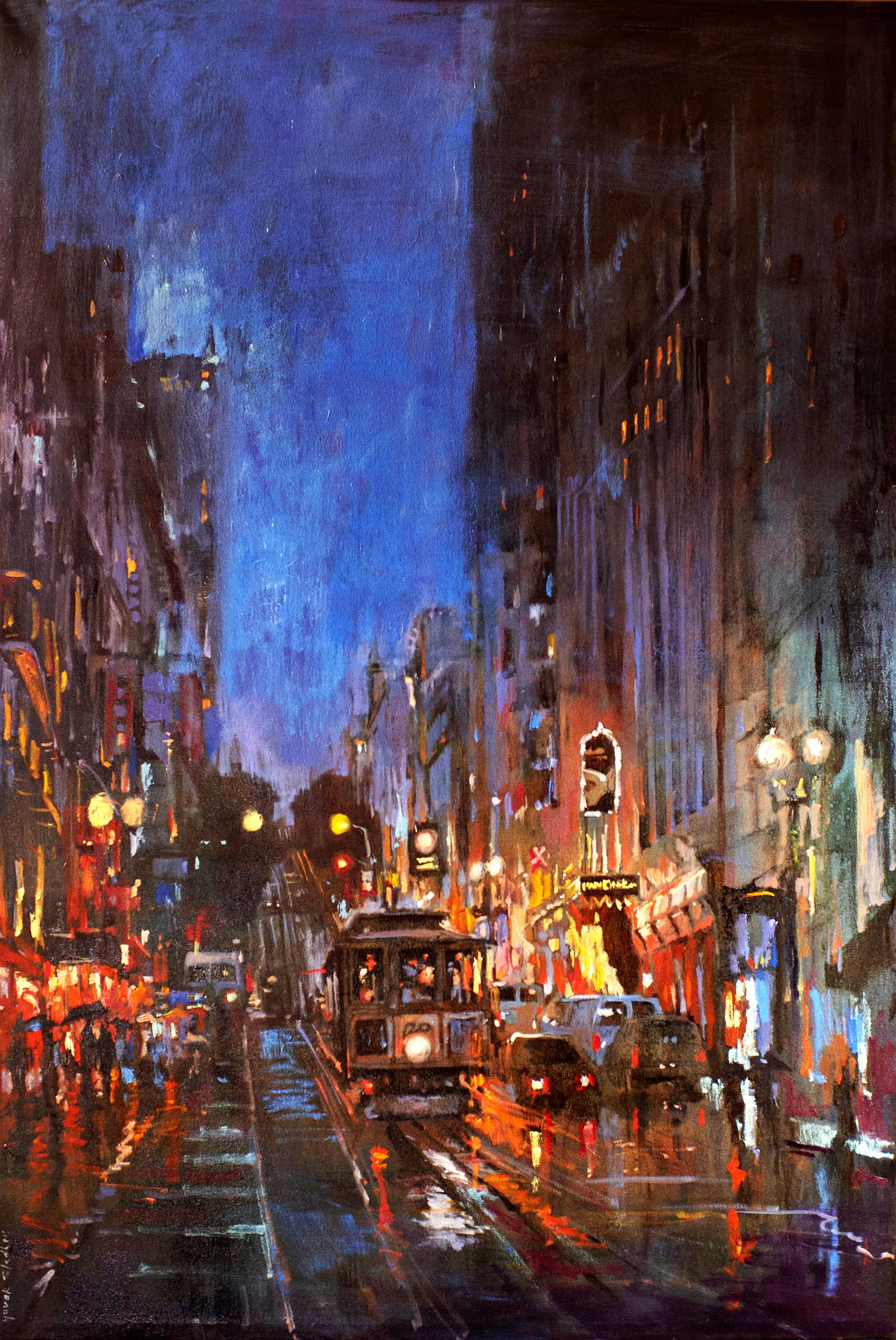 Powell Street in San Francisco After Rain, Oil Painting