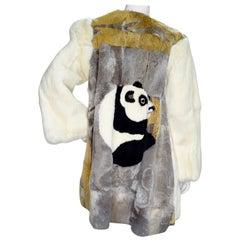Yvan & Marzia 1980s Panda Motif Rabbit Fur Jacket