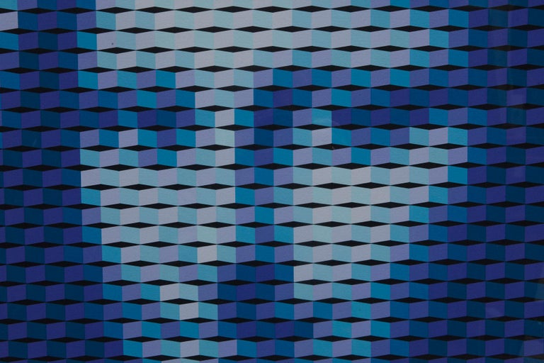 Mona Lisa - Blue Abstract Print by Yvaral (Jean-Pierre Vasarely)
