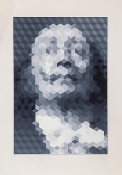 Salvador Dali, OP Art Portrait by Yvaral Jean-Pierre Vasarely