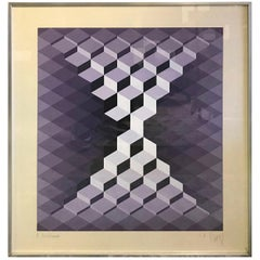 Yvaral Jean-Pierre Vasarely Signed Geometrical French Opt-Art Color Screen Print