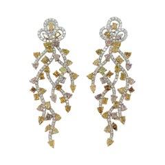 Yvel 14.0 Carat Fancy Colored Diamond Earrings in 18 Karat White Gold