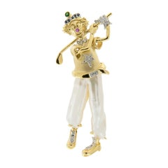 Yvel 18 Karat Gold Pearl Diamond Multi-Gemstone Golfing Clown Pin or Brooch
