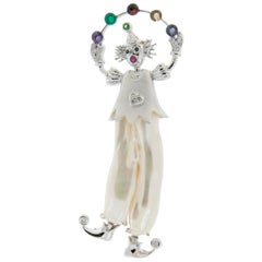 Yvel 18 Karat Gold Pearl Diamond Multi-Gemstone Juggling Clown Pin or Brooch
