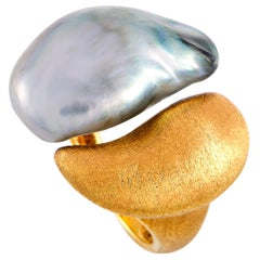 Yvel 18 Karat Yellow Gold and Pearl Open Ring