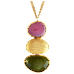 Yvel 18 Karat Yellow Gold and Gemstone Dangle Pendant Chain Necklace