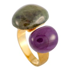 Yvel 18 Karat Yellow Gold and Gemstone Open Ring