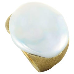 Yvel 18 Karat Yellow Gold and White Baroque Freshwater Pearl Ring