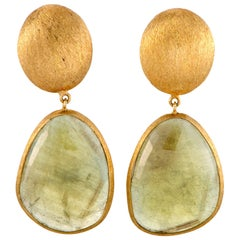 Yvel 18 Karat Yellow Gold Dangle Push Back Earrings