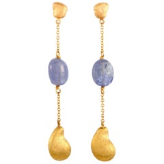 Yvel 18 Karat Yellow Gold Drop Push Back Earrings