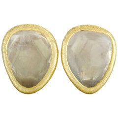 Yvel 18 Karat Yellow Gold Green Sapphire Clip-On Earrings