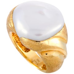 Yvel 18 Karat Yellow Gold Large Pearl Ring