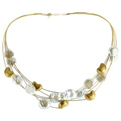 Yvel 18 Karat Yellow Gold Pearl Multi-Strand Necklace