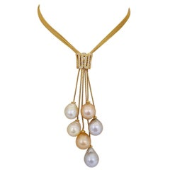Yvel 18 Karat Yellow Gold Necklace with South Sea Pearls and .50 Carat Diamonds