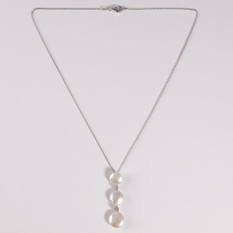 Yvel Biwa Cultured Pearl Necklace with Accent Diamonds For Sale 3