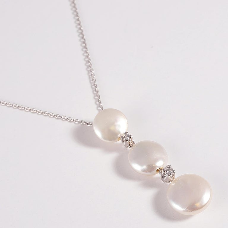 Yvel Biwa Cultured Pearl Necklace with Accent Diamonds For Sale 4