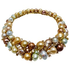 Yvel Colored Diamond and Multi-Colored Baroque Pearl 18 Karat Gold Necklace